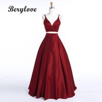 BeryLove Burgundy Two Piece Evening Dress 2019 Long Satin Evening Gowns Simple 2 Piece Evening Dresses Prom Dresses Real Photos