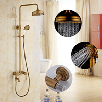 Antique Brass Shower Faucet Lifting European Vintage Suit 8 Inch Shower Set Phone Holder Brass Finish Shower Accessories