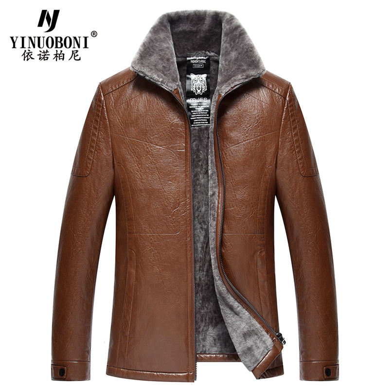 Men Natural Leather Jacket Male Faux Wool Jacket Men ...