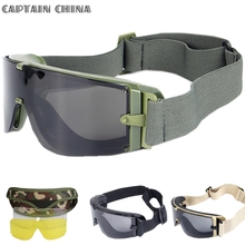 Military Army Tactical Glasses 3 lens Green Ballistic Windproof UV Protect Tactical Goggles for Airsoft Paintball