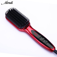 LCD Heating Electric Ionic Fast Safe Hair Straightener Anti Static Ceramic Straightening Brush Straightening Ceramic Iron