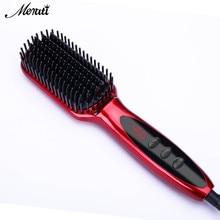 LCD Heating Electric Ionic Fast Safe Hair Straightener Anti static Ceramic Straightening Brush straightening ceramic iron