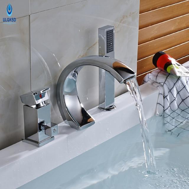Ulgksd Bathtub Mixer Faucet W Hand Shower Taps Bathroom 3pcs Chrome Br