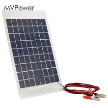 MVpower 12V 10W Solar Charger Panel External Portable Battery Pack Car Solar Cells with Crocodile Clips 38*22*0.4cm