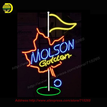 2017 New Neon Sign Molson Golden GOLF Light Glass Tube Neon Signs Handcrafted Custom LOGO Recreation Home Wall Iconic Sign 19×15