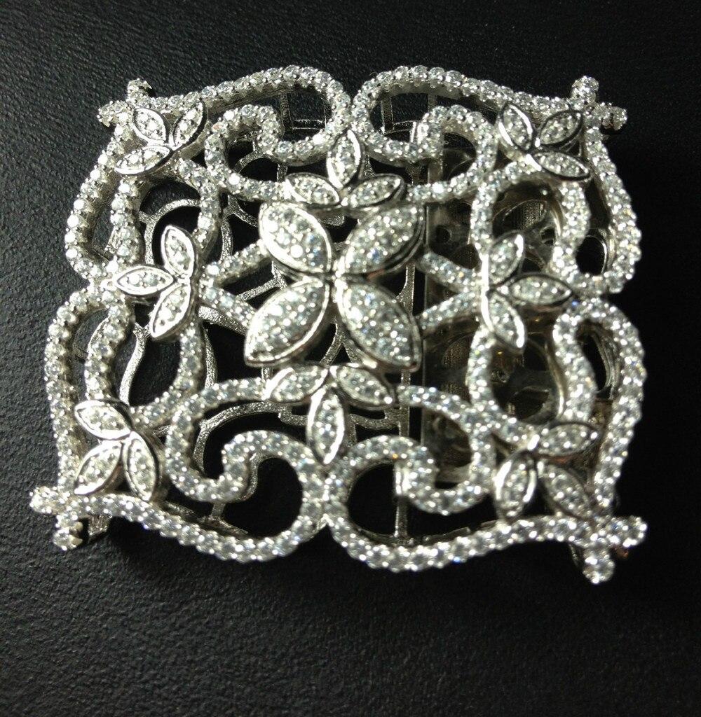 Top qualité résultats de bijoux et composants 925 en argent Sterling avec Zircon cubique serrure de collier bijoux accessoires fermoir bricolage