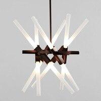 Nordic Стиль LED кристалла подвесной светильник Современный Творческий бар лампа Приём стол для магазин отеля офисная техника Освещение