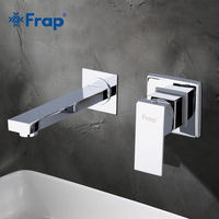 FRAP Single Handle Basin Faucets Wall Mounted Waterfall Sink Faucet Surface Chrome Finished Bathroom Mixer Tap Hidden Tap Y10052