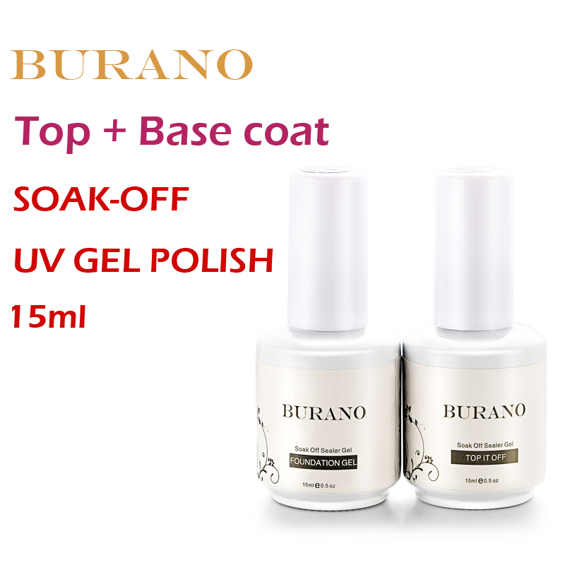 BURANO 2pcs/set UV nail Soak Off Uv Gel Polish Top coat gel+basecoat gel nail kit 15ml 0.5oz жидкость domix green professional nail gel polish remuver