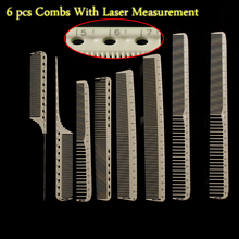 Professional Hairdressing Cut Comb 6 pcs For Barber Unbreakable Hair Cutting Comb Y-8 With Laser Measure Scale Hair Cut Comb Set