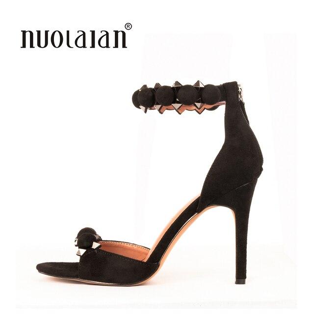 chaussures à talons hauts cuir sandales bandage zippé talon gros hauteur élevé CYrlReTqze