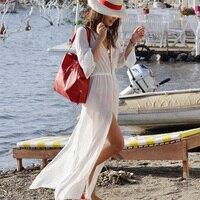 The New Long Section Of White Wrap Skirt Mantillas Beach Bikini Blouse Skirt Swimsuit Skirt Blouse