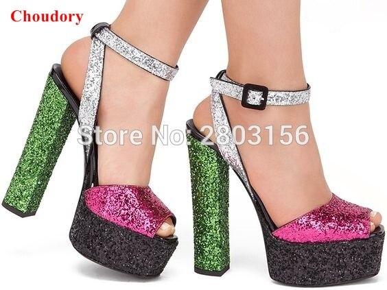 af8b2363 Nuevos zapatos de tacón Alto plataforma Fiesta Sandalias zapatos de Verano para  mujeres de La Manera Brillante Peep Toe Gruesas Sandalias de Tacón en ...