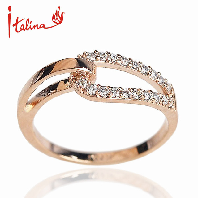 love Knot Rose Gold color Zircon rings for women Austria Crystals wedding rings female Anel bijoux top quality