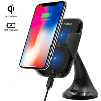 Vertical Car Holder Adjustable Fast Qi Wireless Charger Car Vent Mount Holder Stand For IPhone 8
