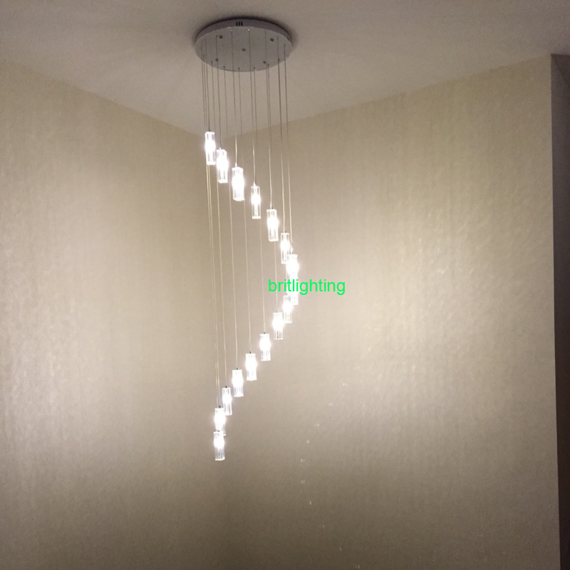 Long Chandeliers Staircase Crystal Spiral Chandelier Lighting Flush - Long hanging light fixtures