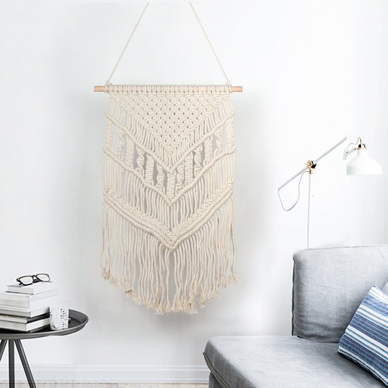 Bohemian Woven Tassel Tapestry Macrame Knitted Wall Hanging Tapestry Art Handmade Cotton Apartment Home Bedroom Wall Decoration(China)