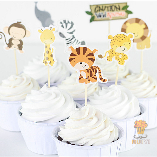 24pcs Wild Animals Monkey elephent leo Tiger candy bar cupcake toppers picks decoration baby shower kids birthday party supplies