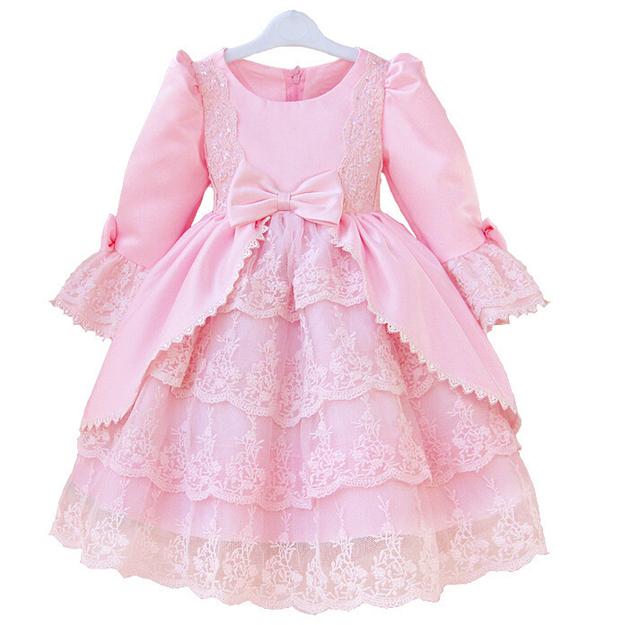 2017 calidad diseñador vestido de niña niños encaje vestido de bola partido de 5 capas vestidos muchachas de los cabritos vestido de corte blanco rosa longsleeve
