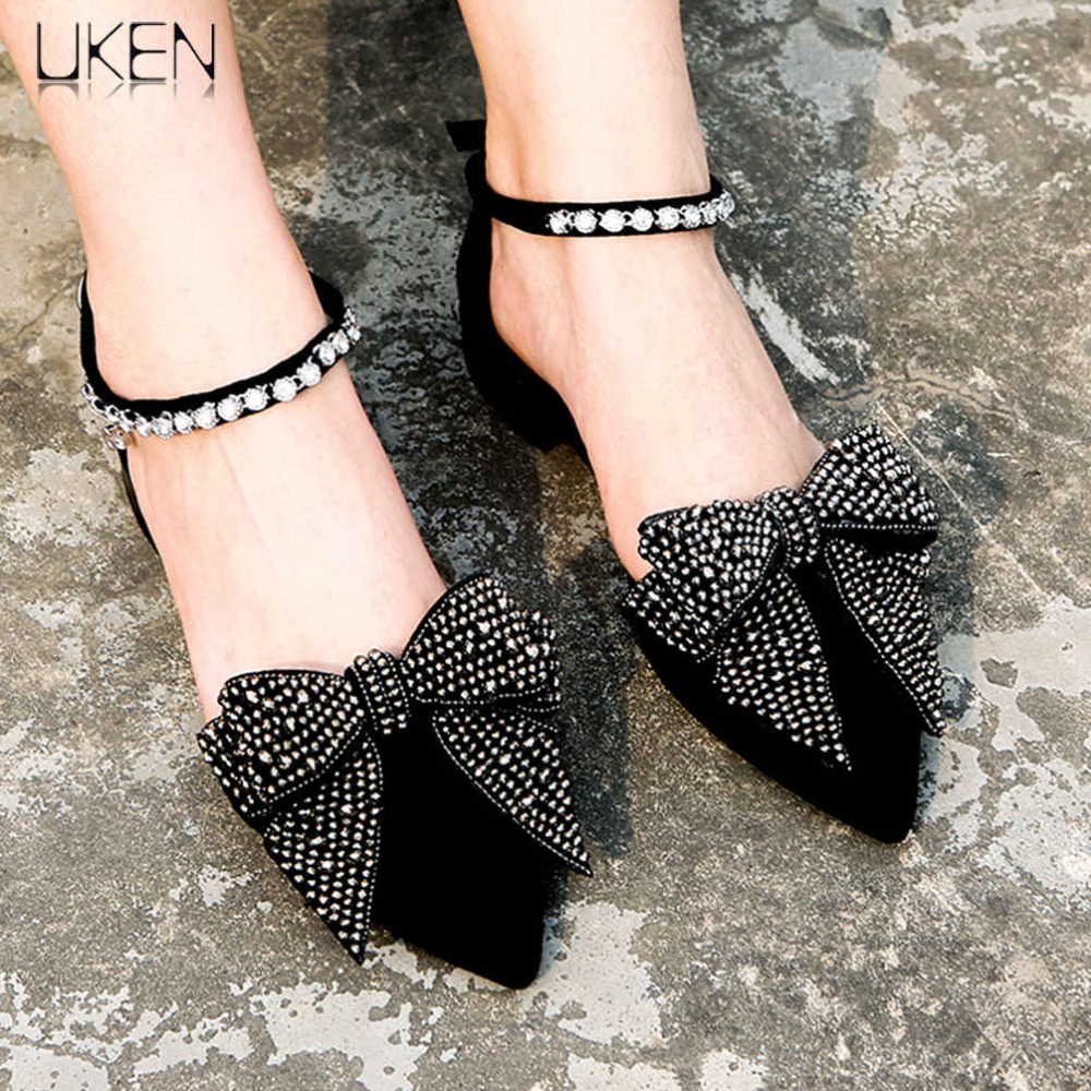 UKEN 2 Pcs/Pair Vintage Handmade Beaded Big Bowknot Anklets Bracelet Fashion Shoes Foot Jewelry Elastic Charm Anklet Accessories pair of vintage triangle crochet anklets for women