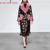 Женская мода искусственный мех Тренч пальто зима теплая Модная ветровка розовый принт средней длины ремень темперамент мех пальто E6745