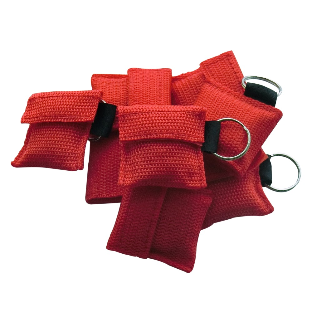 500 PCS /lot CPR MASK WITH KEYCHAIN CPR FACE SHIELD For Cpr/AED RED COLOR NEW