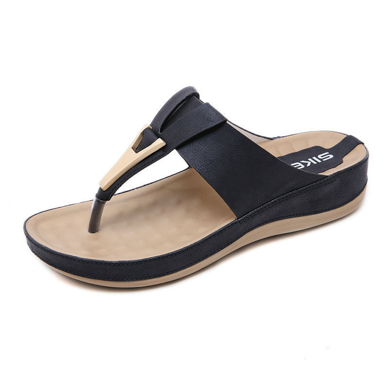 Wedges Shoes Sandalias Decoration Slides Yu-Kube Beach Flip-Flops Metal Mujer for Women