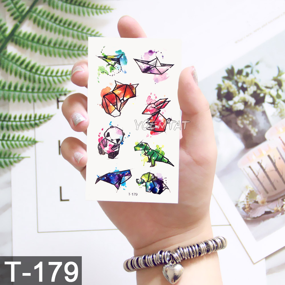 Waterproof Temporary 3d Tattoos Sticker On Body Art Colorful Watercolor Panda Fox Rabbit Fake Glitter Tattoo Flash Women Tattoo