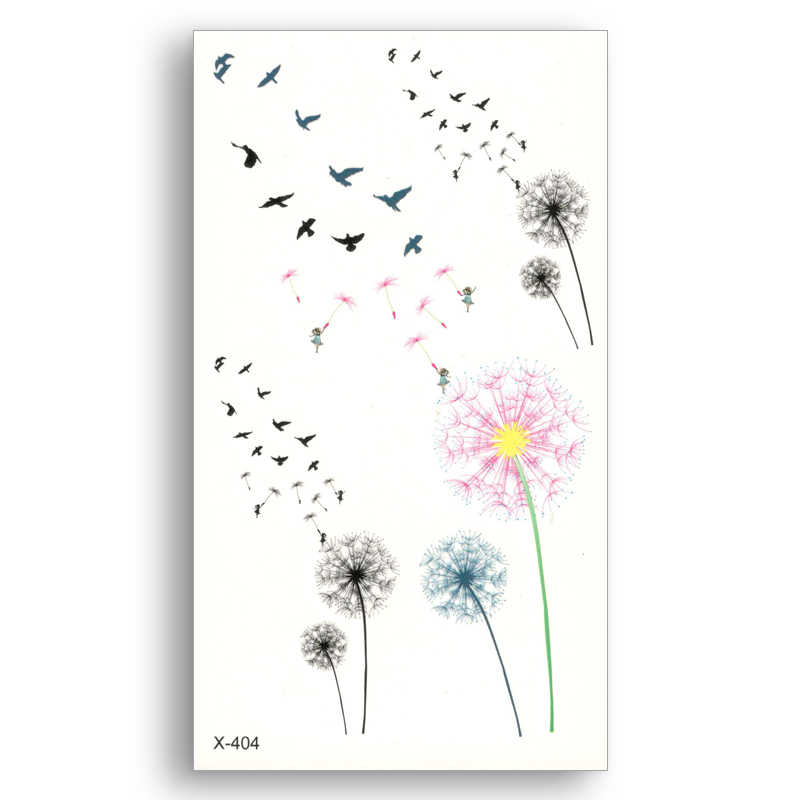 colored Dandelion Fake temporary tattoo Water Transfer Stickers Women Man  beauty Sexy Body Art Live of Song X404