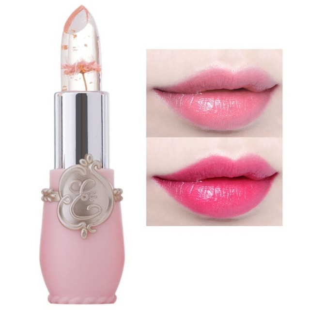 Pintalabios transparente hecho a mano de larga duración temperatura cambio de Color jalea brillo de labios con flor seca bálsamo labial impermeable
