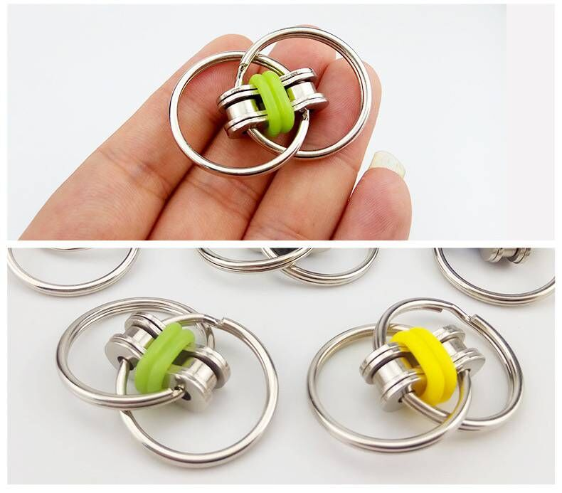 Fidget-Toy Key-Ring Top-Puzzles Hand-Spinner Sensory Toys Autism ADHD Metal Chain Stress-Relieve img3