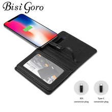 BISI GORO 2019 Unisex Smart Wallet With USB Charging Wallet Adapt For Ipone And Android Type-C Capacity 4000 mAh Creative Wallet