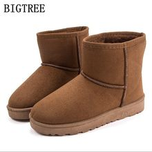 Winter Boots Woman genuine cowhide leather warm snow boots Women Slip-On Comfortable Plush Flat Ankle Boots Women's cotton shoes