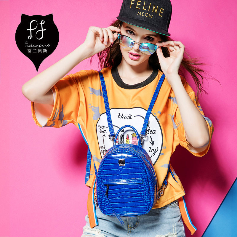 A0703 FULANPERS Brand Designer mini female Backpack college wind crocodile pattern leisure Bag college schoolbag sac de marque free shipping 2015 new famous designer brand fashion leisure cavans school college wind backpack eiffel tower pattern