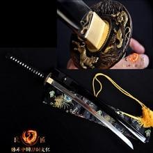 Hand forge folded steel Clay tempered japanese samurai sword katana  sharpened