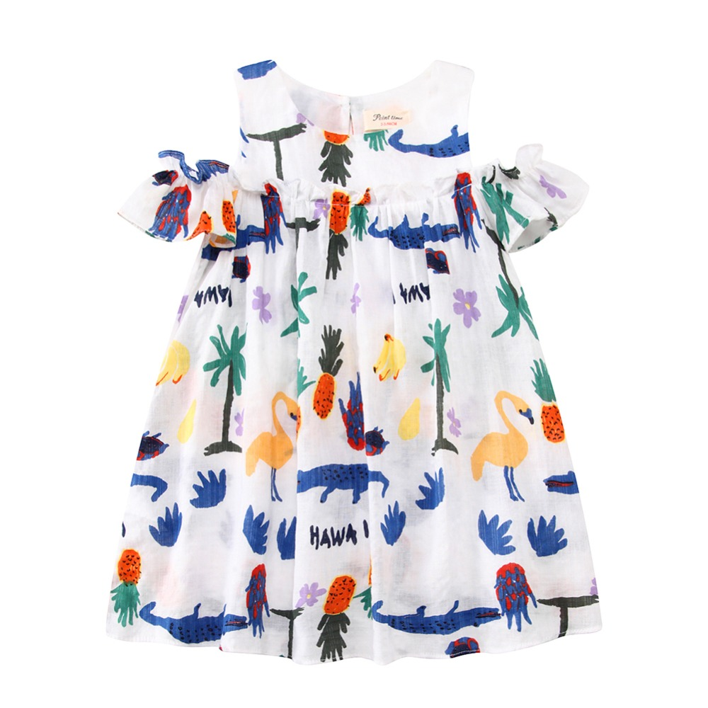 34175c93d88 Girls Party Dresses Robe Fille 2018 Brand Baby Girl Summer Dress Children  Vestidos Animal Flower Princess Dress Kids Clothes