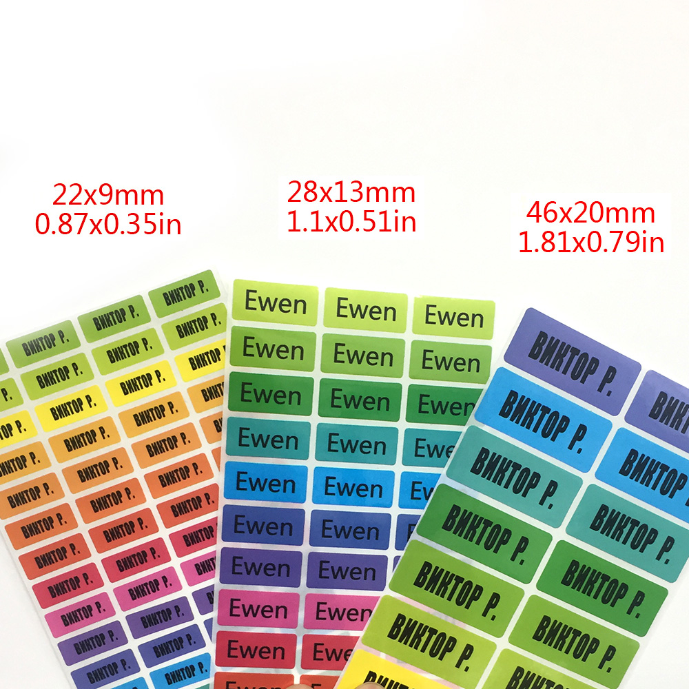 Rainbow Color Custom Name Stickers Girls Multicolor Waterproof Personal Tag Labels Children Scrapbook School Stationery Set