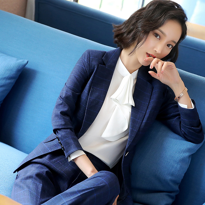 Professional suit suit women's 2019 new high-quality fabric fashion lattice suit jacket office suit skirt and pants three-piece