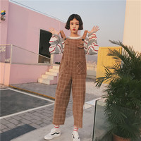 Korean Ulzzang Preppy Style Female Overalls Japanese Vintage Casual Loose Plaid Wide Leg Women Strap Pants Harajuku Jumpsuits