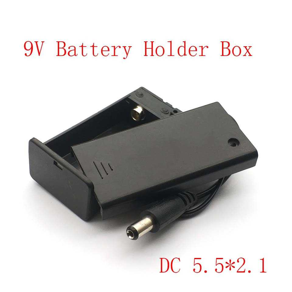 New Arrival 9V PP3 Battery Holder Box Case Wire Lead ON/OFF Switch Cover + DC 2.1mm Plug