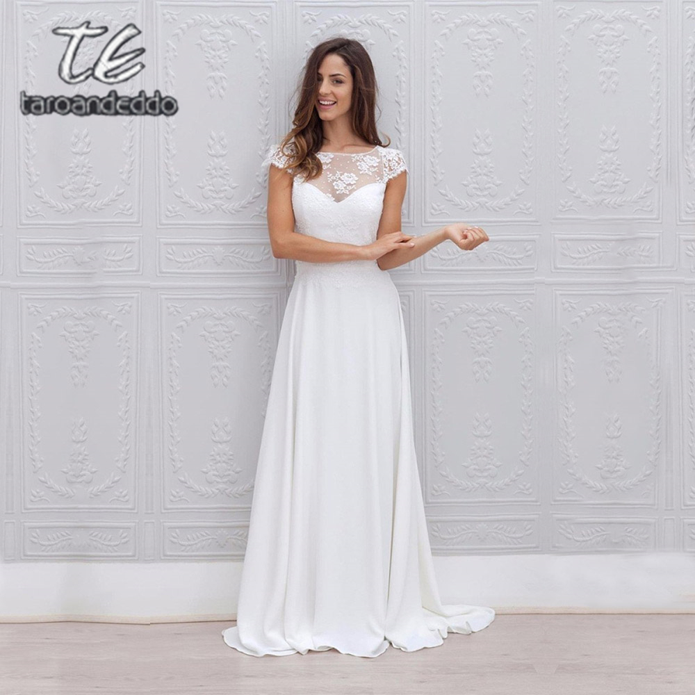 Scoop Cap Sleeve Wedding Dresses A Line Illusion Open Back Floor Length Sweep Train Bridal Dress