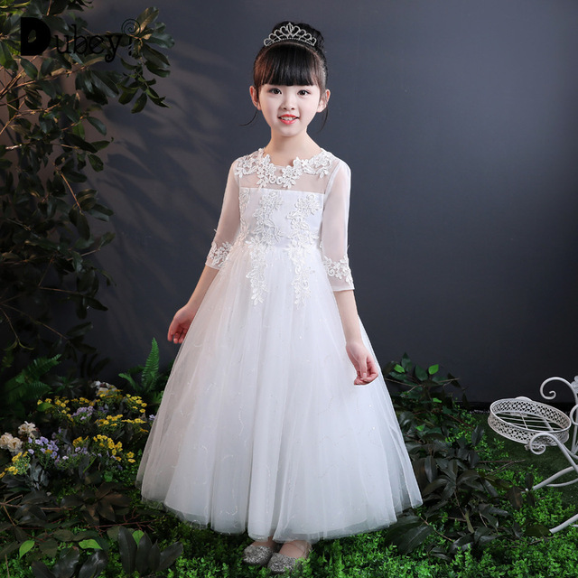 Girls Princess Dress Children s Three Quarter Long Frocks Dresses Teenagers  Costumes for Kids Wedding Birthday Party Clothes 261bb7f95105