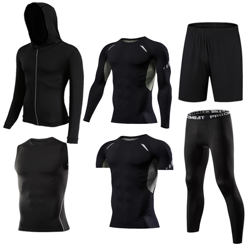 Image 4 - Gym Mens Running Fitness Sportswear Athletic Physical Training Clothes Suits Workout Jogging Sports Clothing Tracksuit Dry Fit-in Running Sets from Sports & Entertainment on AliExpress