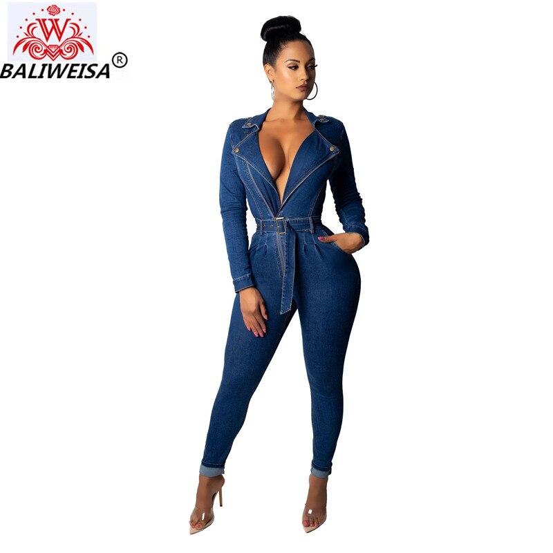 Baliweisa Mode Haute Bleu Demin De Pecil Nouveau Barboteuses Longues Salopettes Femmes Décontracté Automne Maintien Ceinture Printemps Combinaisons 6Orx6qTcWg