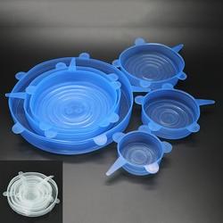 6 шт./компл. многоразовая силиконовая пищевая Обёрточная бумага стретч-вакуумные крышки уплотнения Саран Обёрточная бумага Кухня