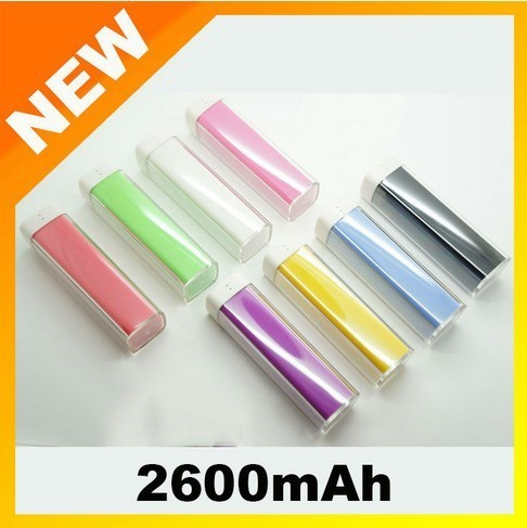 Free shipping 10pcs/lot 2600mAh portable charger for iPhone, iPad, mobile phone, MP3, MP4, PSP and other digital devices 029