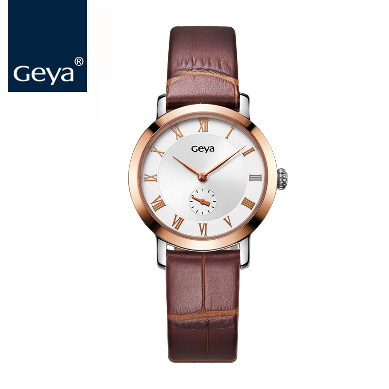 Geya Luxury Lovers Couple Watches Men Date Day Waterproof Leather Strap Women Stainless Steel Quartz Wristwatch Montre Homme longbo men and women stainless steel watches luxury brand quartz wrist watches date business lover couple 30m waterproof watches