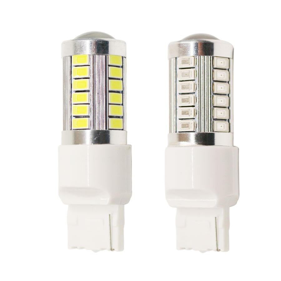 2pcs Car led T20 7440 W21W 33 led Samsung 5630 smd High Power LED Tail Brake Stop Light Bulb Red White Yellow car light source