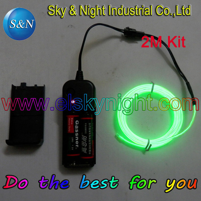 Lemon color 2M EL Wire Tube Rope Battery Powered Flexible Neon Cold ...