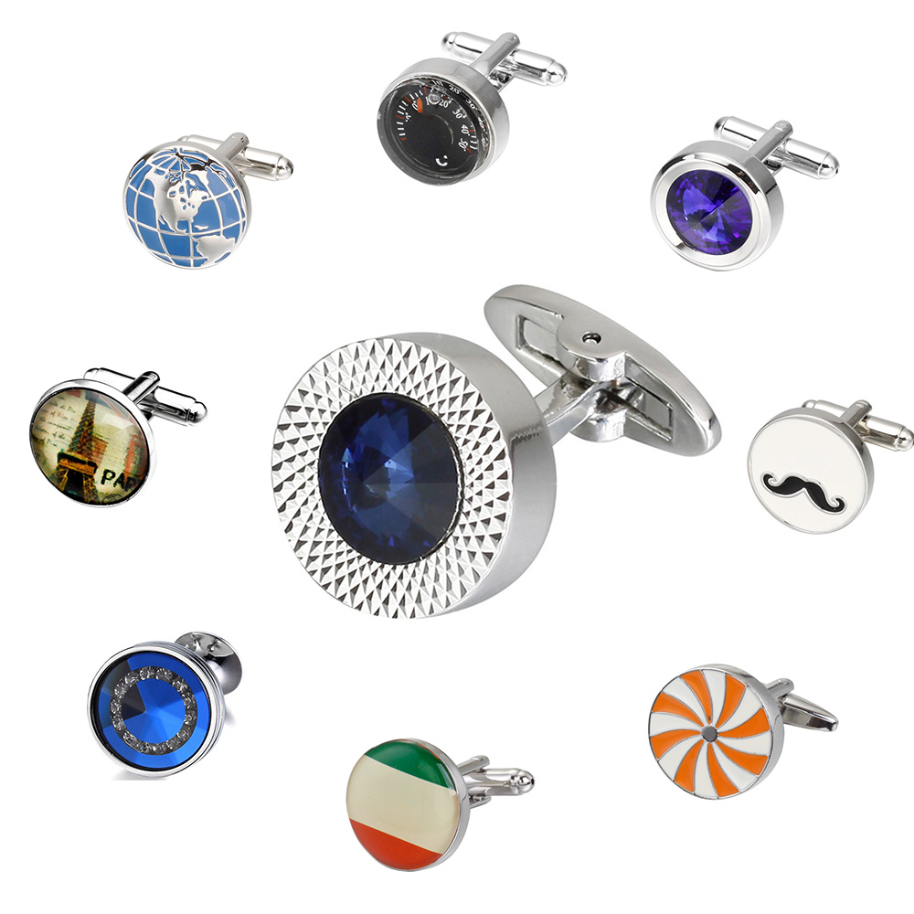 MeMolissa Novelty Luxury Blue White Cufflinks Round Men's High Quality Crystal Silver Cufflinks Shirt Cufflinks Men Jewelry
